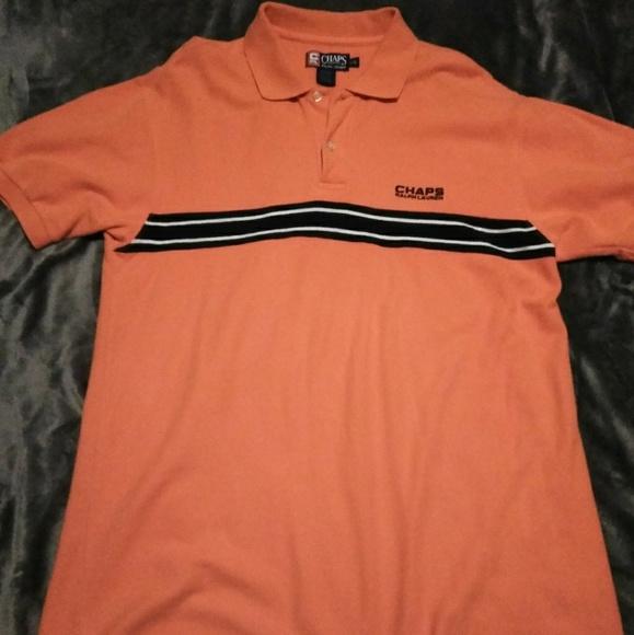 effd78949fc Chaps Shirts | Retro Ralph Lauren Orange Striped Polo L | Poshmark